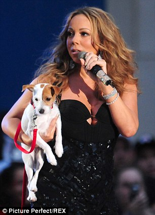 Puppy love: Mariah Carey with one of her pet dogs