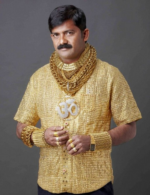 Last year wealthy Datta Phuge has splashed out £14,000 on a solid gold shirt to make sure he's a 24 karat hit with women in central India