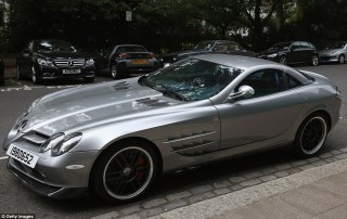 One of the fleet includes a silver Mercedes-Benz SLR McLaren 722, which has wowed those walking past