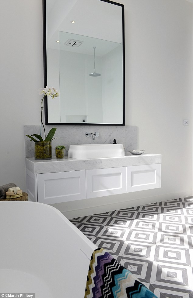 bathroom white floor tiles