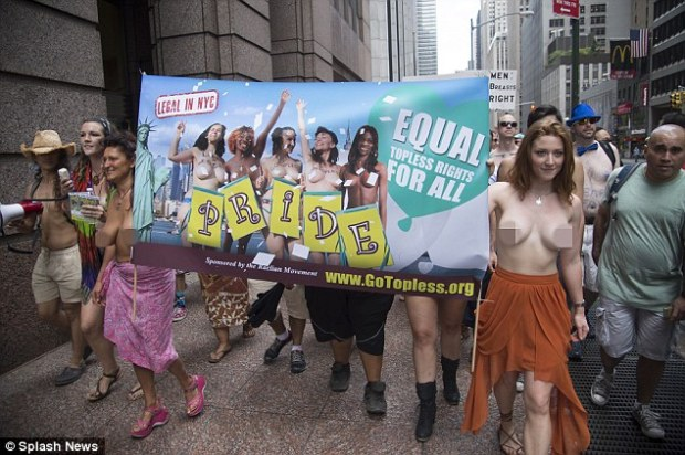 Getting it off their chests: Women sans tops march through Manhattan for Go Topless Day