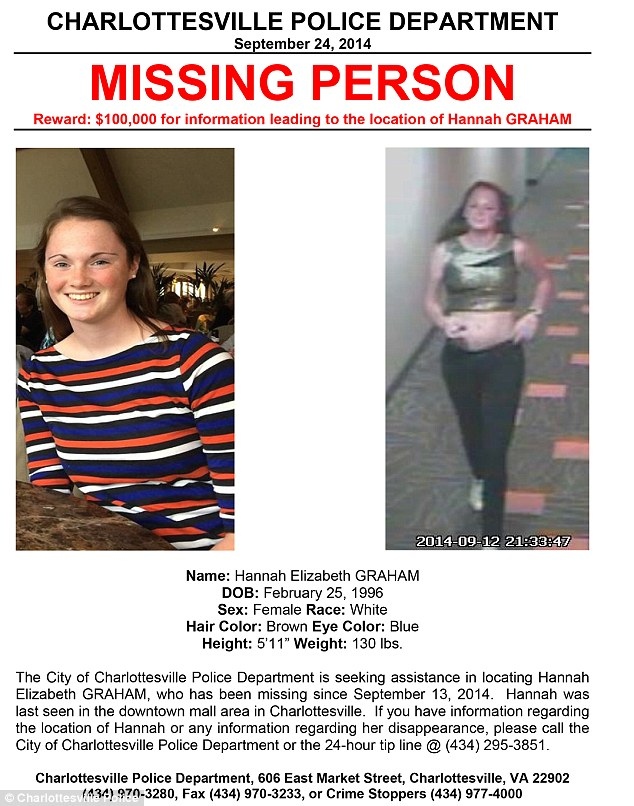 Police now offering $100k reward for information on missing UVA - missing people posters