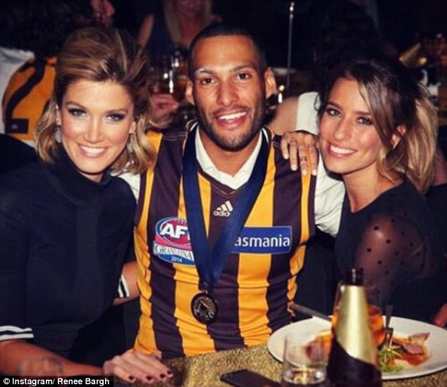 Back in Oz! Renee Bargh poses with friend Delta Goodrem and AFL star