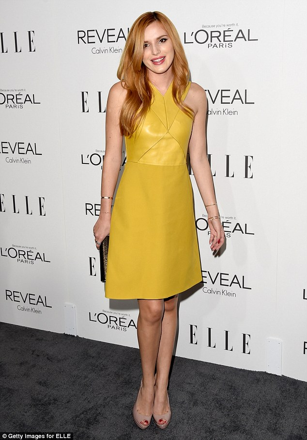 Black And Mustard Wallpaper Bella Thorne Wows In Mustard Yellow Leather Mini Dress At