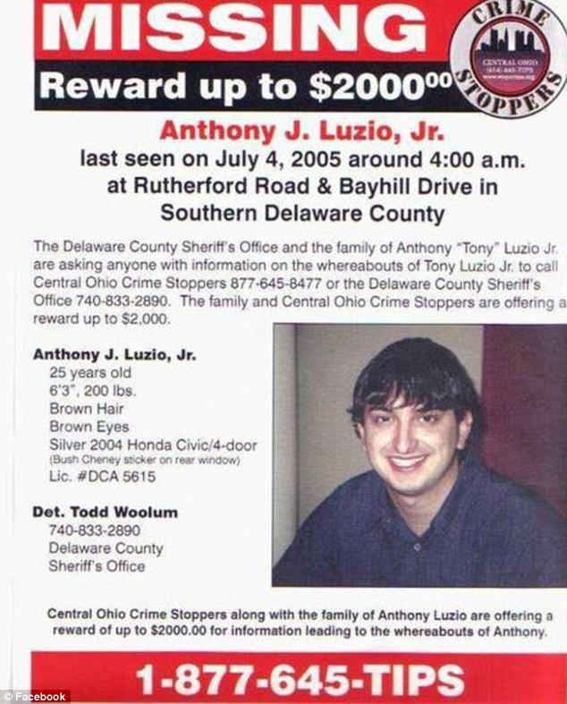 Tony Luzio Jr missing 9 years found dead in car in Ohio pond Daily - make a missing person poster
