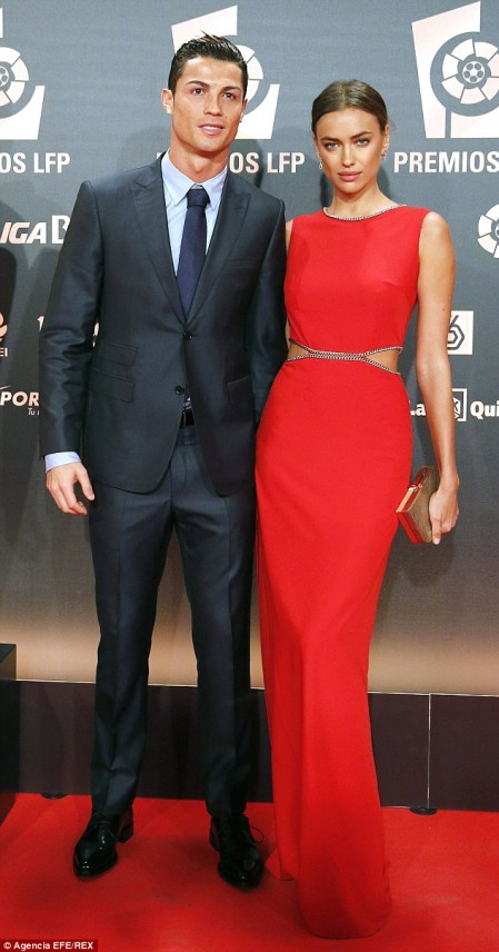 Picture perfect: Cristiano Ronaldo andIrina Shayk put on a united front at theProfessional Soccer League (LFP) Awards held at Principe Felipe auditorium in Madrid, Spain on Monday night