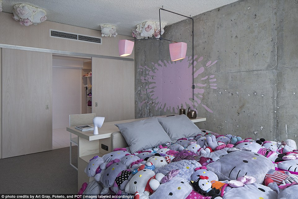 Landscape Big Sofa Line Hotel In La Gets Hello Kitty Makeover | Daily Mail Online