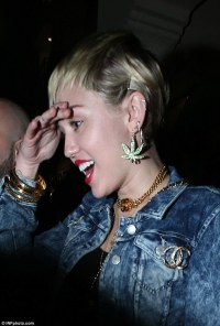 Miley Cyrus wears Marijuana earrings and shoes on night ...