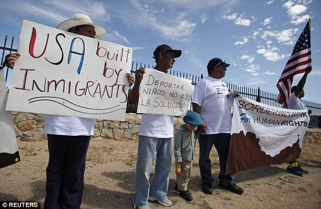 'USA BUILT BY IMMIGRANTS': Border town residents in Texas protested against militarization of the border and the deportation of ilegal immigrants on August 24, 2014