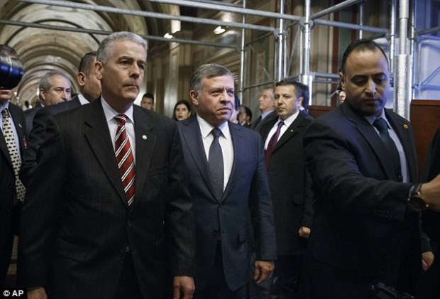 Uncompromising language: King Abdullah II has said Jordan's response 'will be harsh because this terrorist organisation is not only fighting us, but also fighting Islam and its pure values'