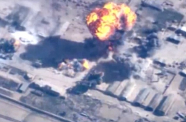 Airstrike: The slickly-edited video also contains aerial shots that appear to show Jordanian strikes on Islamic State targets. The Royal Jordanian Air Force launched strikes on Syria this morning