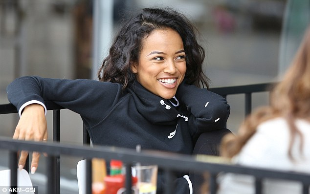 Nike Pullover Red Karrueche Tran Can 39;t Stop Smiling As She Enjoys A Mimosa