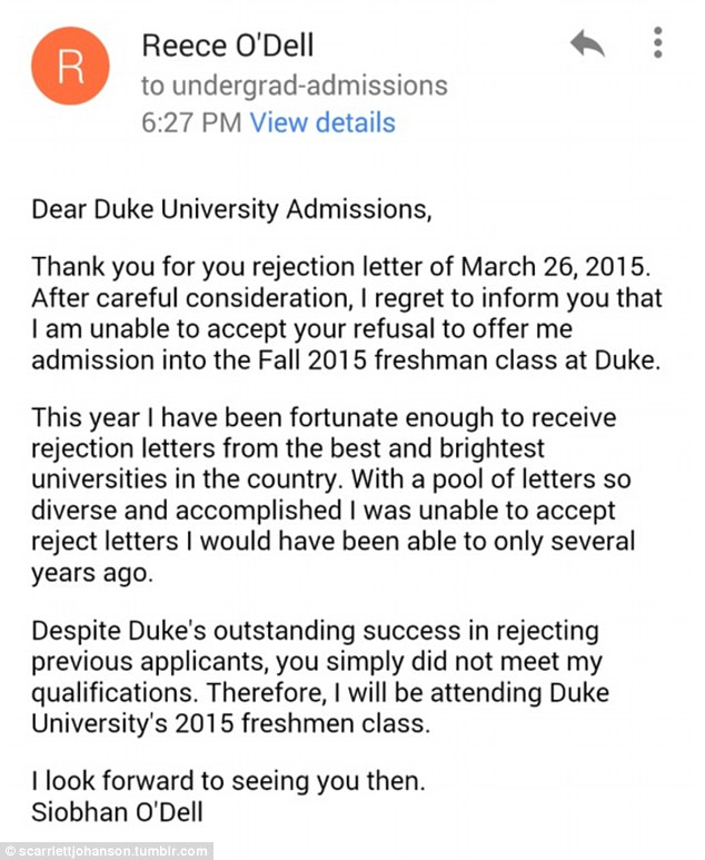Siobhan O\u0027Dell\u0027s turns down Duke University college rejection letter