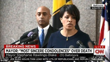 Baltimore Mayor Stephanie Rawlings-Blake (right, with Police Commissioner Anthony Batts) said that she is frustrated by the lack of answers given in the police report