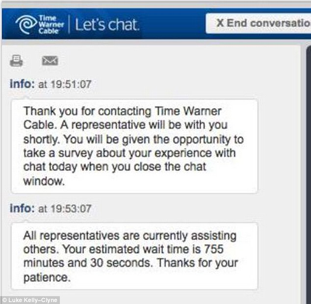 Time Warner Cable\u0027s customer service wait was 12 hours before
