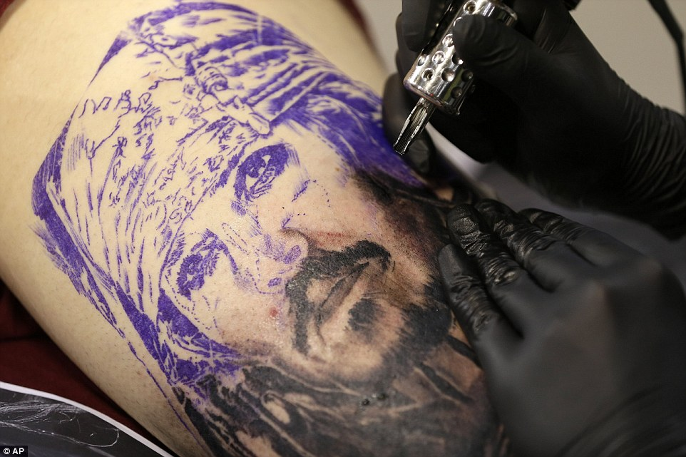 inking of Captain Jack Sparrow, played by Johnny Depp in the Pirates