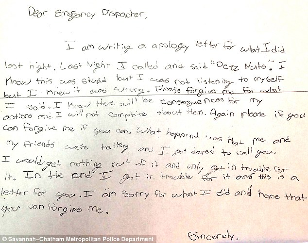 Georgia sixth grader writes hand-written apology letter over 911 - how to make an apology letter