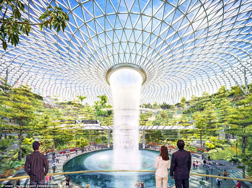 3d Fountain Wallpaper Singapore S Changi Airport To Spend 163 726m On Indoor Forest