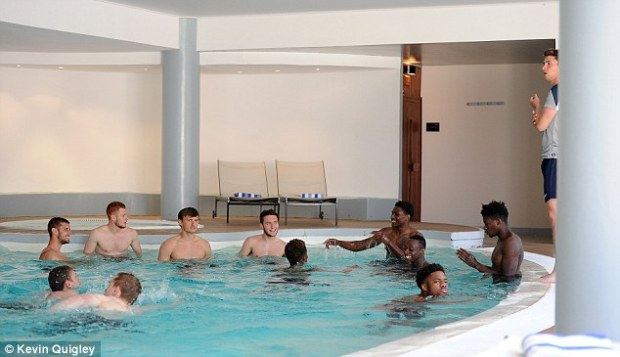 Ferdinand insists it would be highly beneficial if England's youth players all mixed ahead of matches - hereJack Stephens, Harrison Reed, John Swift, Matthew Grimes, Kortney Hause, Moses Odubajo, Chuba Akpom and Dominic Iorfa share a joke in a swimming pool