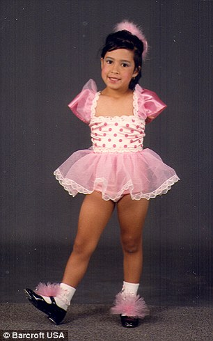 Young star: Armless Jessica Cox posing in a tap dancing costume in December 1989