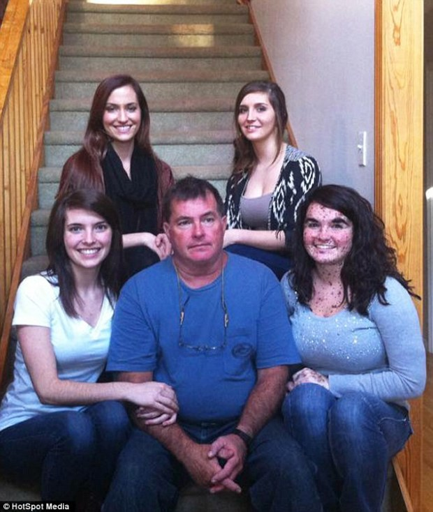 Ciera is supported by her family (pictured centre, father David, and from left, sisters Hannah, 24, Randi, 26 and Anna, 20)