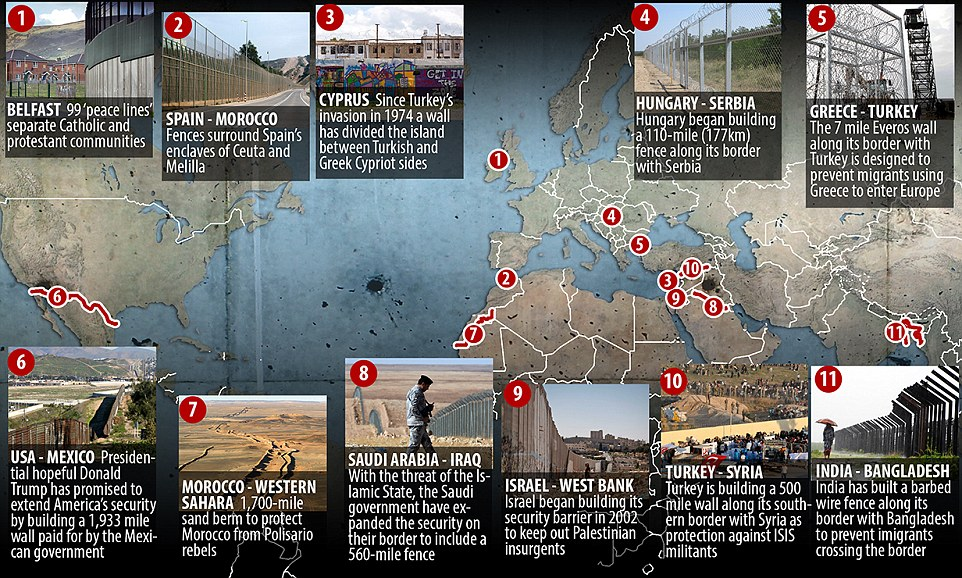 How 65 countries have erected security walls on their borders - best of world map hungary syria
