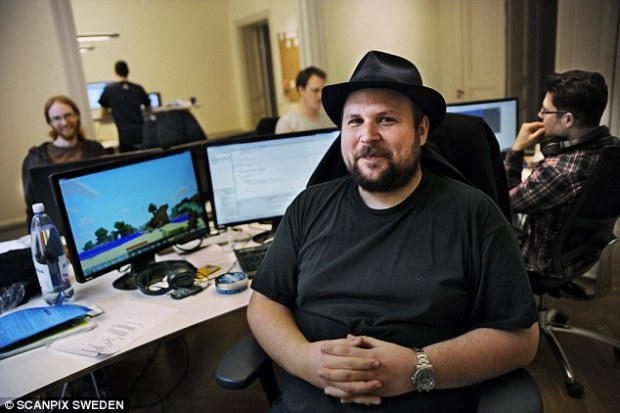 Unhappy:Minecraft inventor Markus Persson claims he's 'never felt more isolated' since selling his company Mojang AB to Microsoft for £1.5billion