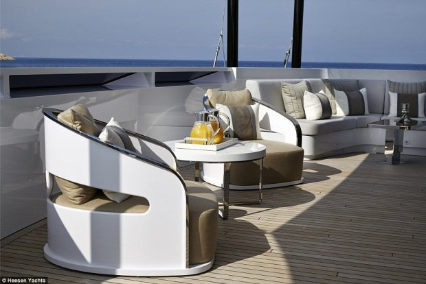 Roomy: Up to 12 passengers have  267-square-metres of deck space and 10 different dining areas on its three upper decks