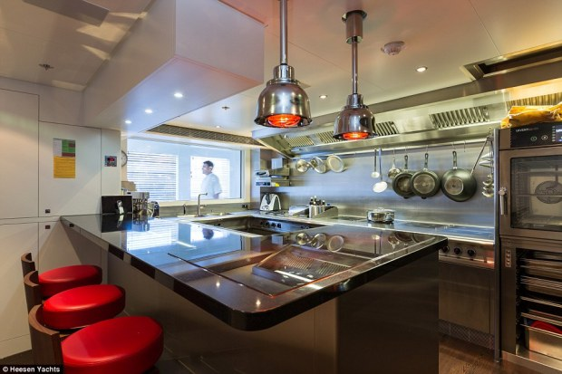 Culinary delight: The yacht also has it's own high-end galley andchef's table (pictured), inspired by the world's top restaurants