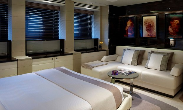 Opulence: The remarkable upper-deck VIP cabin has its on separate lounge area to relax from a busy day of swimming and sipping champagne