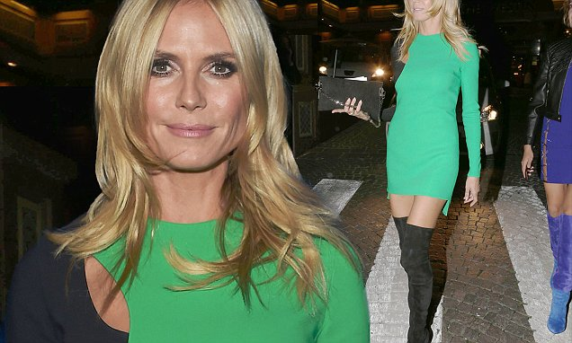 Heidi Klum Wows In Mini Dress And Thigh High Boots At