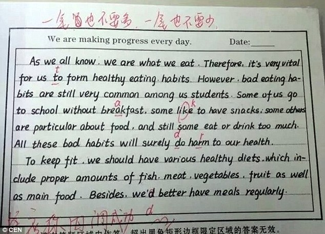 Chinese school forces pupils to write English letters like a