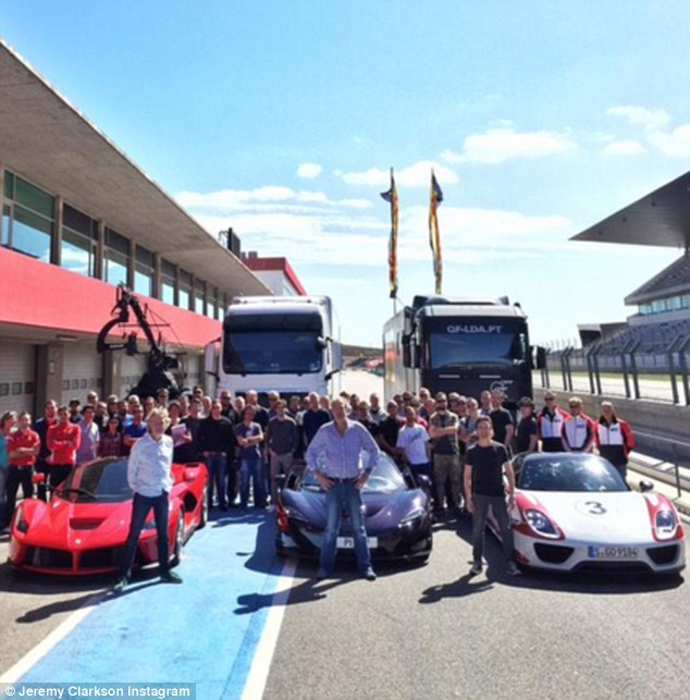 Getting into gear: Jeremy Clarkson posted a snap of the first day of filming his new motoring show for Amazon on Wednesday, promting a Twitter frenzy, with nearly 20,000 favouriting the tweet, and some naming the location as the Autódromo Internacional Algarve, a small race track in Portugal