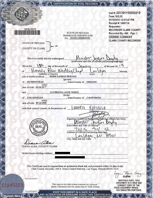 Jim Carrey\u0027s ex Cathriona White\u0027s marriage certificate reveals