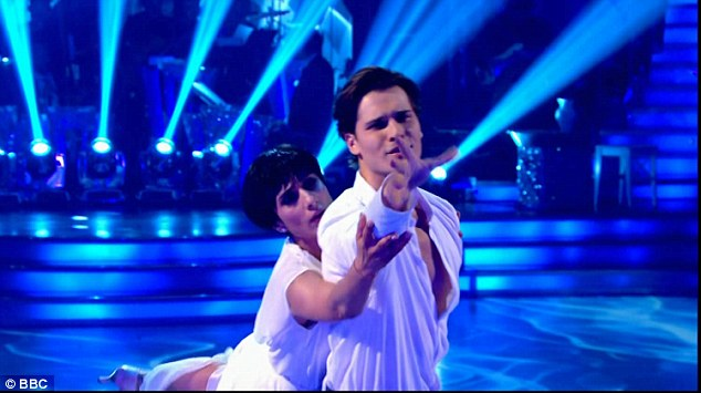 Powerful:They did the American Smooth with a Viennese Waltz to the classic Righteous Brothers hit Unchained Melody which saw the duo do a very unique move which saw the couple lying on the floor as Gleb dragged her along