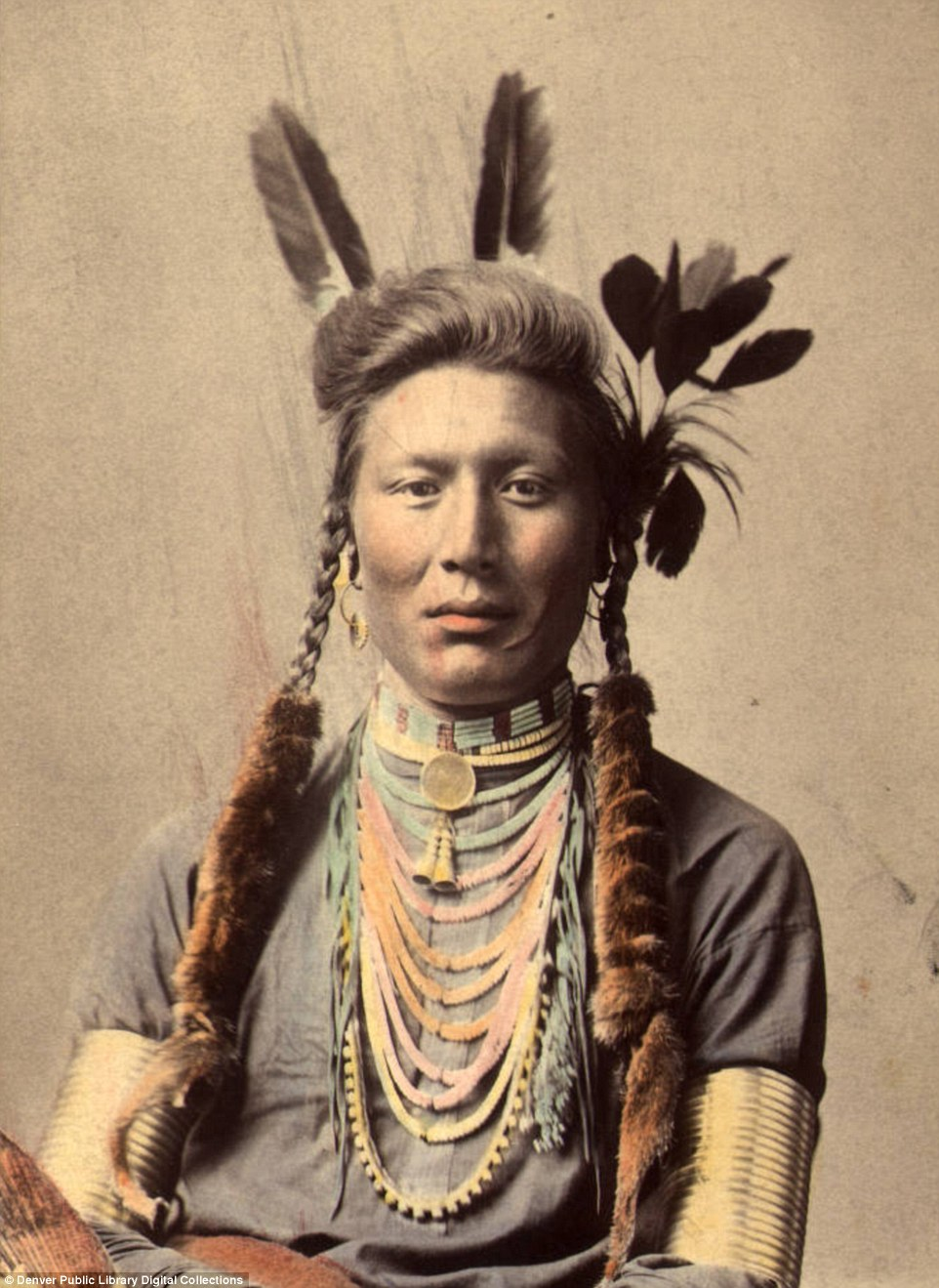 Posing camera stunning colored images lives Native Americans 19th century tribal chiefs dancers medicine men native american wedding dress History Old Coyote also known as Yellow Dog of the Crow or