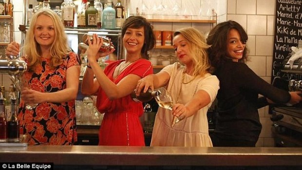 Happier times: Michelli Gil Jaimez (second left), a 27-year-old Mexican who had been living in Paris for three years, was well known as one of the smiling faces behind the bar at the La Belle Equipe