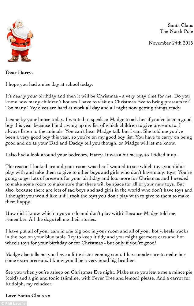 Phil Lavelle writes letter from \u0027Santa\u0027 to son saying he\u0027s given his