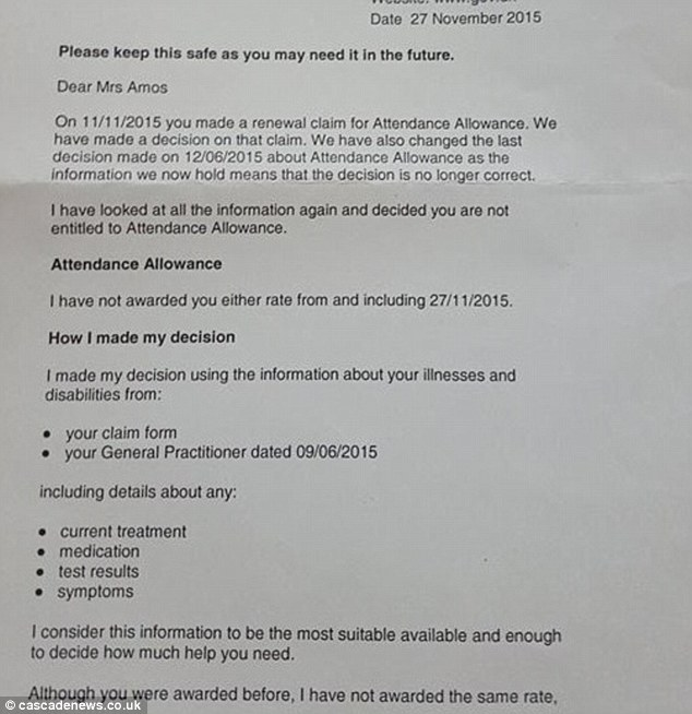 Dawn Amos told she no longer qualified for benefits the day she DIED - attendance allowance form