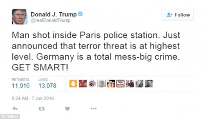 Does Donald Trump suggest Paris is in Germany in his latest Tweet?   Daily Mail Online
