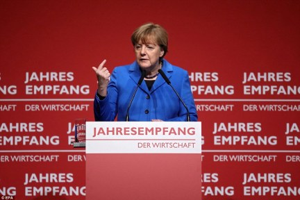 Merkel said yesterday at an event in Mainz, near Frankfurt, that Europe was 'vulnerable' in the refugee crisis because it was not yet in control of the situation to the extent that it would like to be (she is pictured yesterday)