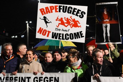 Protestors from the far-right PEGIDA movement (Patriotic Europeans Against the Islamisation of the Occident) march during a rally in Leipzig yesterday to protest at the increasing numbers of refugees entering Germany