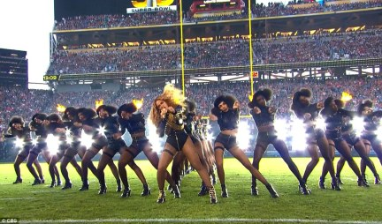 Beyonce was widely expected to put in a political performance after releasing the video for her new song on Saturday which was hailed as a rallying cry for the Black Lives Matter movement