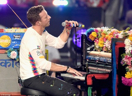 They're back: After Bruno and Beyonce's performances, Coldplay returned with Chris Martin on the piano as they did Clocks