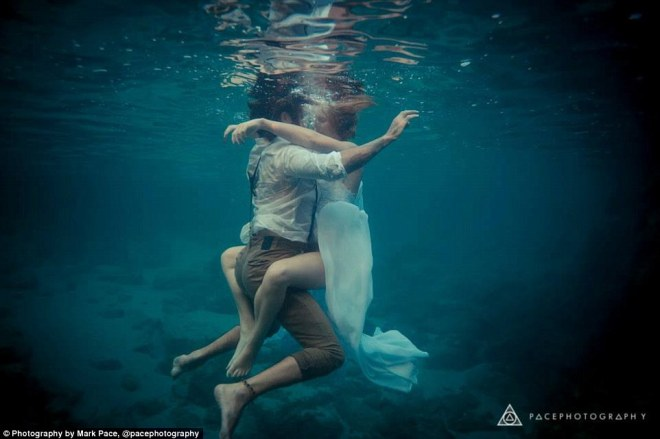 Intimate:In 2015, bride Jordan Carter-Lynn and her new husband Shannon Carter (pictured), from Perth, Western Australia, decided to participate in an incredible underwater shoot shortly after their nuptials
