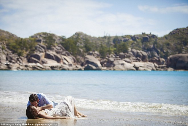 Scene from a movie: The same year, Natalie and Jesse Watts (pictured), from Dunsborough, Western Australia, got married on the beautiful Magnetic Island in far North Queensland