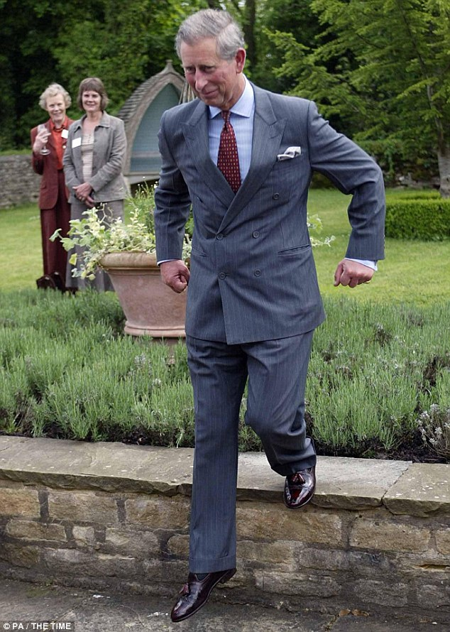 Charles, pictured in the garden, also said he was hoping to kindle the love of the English garden in his grandson