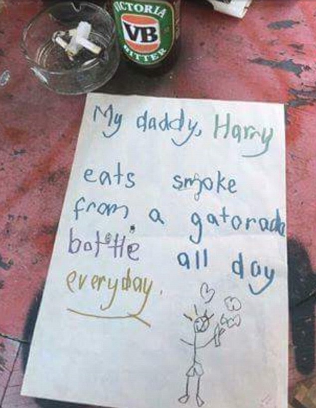 Australian child\u0027s letter and drawing reveals father\u0027s smoking