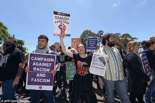 The vacant block of land is just a few kilometres from where Reclaim Australia protesters (pictured) staged a violent rally last year over Islamic migration