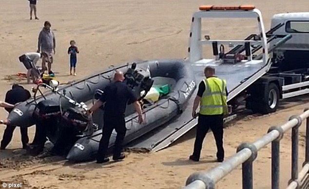 A second vessel, believed to be linked to the inflatable that got into trouble, was discovered on the beach on Sunday at Dymchurch and was seized by the authorities